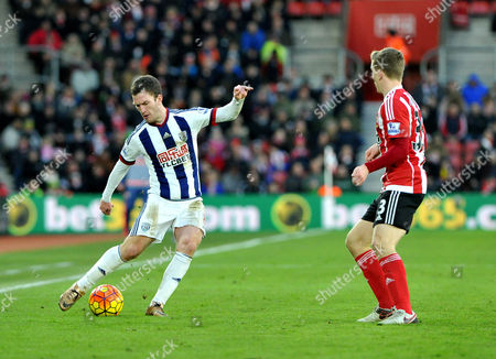 Craig Gardner in action, during the Barclays Premier League match between Southampton and West Brom at St. Marys on 16th January 2016.