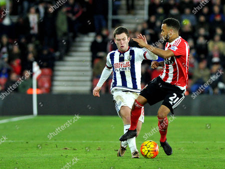 West Broms Craig Gardner and Southamptons Ryan Bertrand, during the Barclays Premier League match between Southampton and West Brom at St. Marys on 16th January 2016.