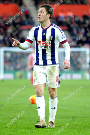 West Broms Craig Gardner shouts at the linesman after being flagged offside, during the Barclays Premier League match between Southampton and West Brom at St. Marys on 16th January 2016.