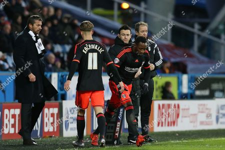Alex Kacaniklic is substituted for Moussa Dembele during the SKY BET Championship match between Huddersfield Town and Fulham played at The John Smiths Stadium, Huddersfield