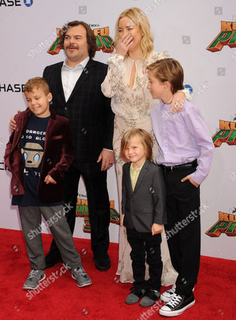 Jack Black and son Samuel Black with Kate Hudson and her sons Ryder Robinson and Bingham Bellamy