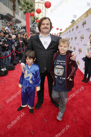 Jack Black with sons Thomas and Samuel Black
