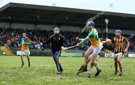 Offaly's James Gorman scores a goal past Kilkenny goalkeeper Aaron Duggan