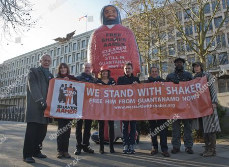 Editorial photo of Pictured Outside The American Embassy In Grosvenor Square Central London To Highlight The Plight Of Guantanamo Detainee Shakar Aamer Are (left To Right) Actor William Hoyland (starwars For Your Eyes Only Gandhi) Actress Jan Chappell (blakes Seven) Ac