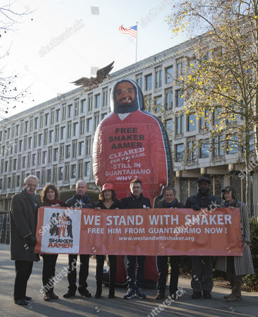 Pictured Outside The American Embassy In Grosvenor Square Central London To Highlight The Plight Of Guantanamo Detainee Shakar Aamer Are (left To Right) Actor William Hoyland (starwars For Your Eyes Only Gandhi) Actress Jan Chappell (blakes Seven) Actor Alan Parnaby Playwright Gillian Slovo (guantanamo) Actor Daniel Cerqueira (ripper Street Call The Midwife) Nicolas Kent (co-director Guantanamo) Actor Patrick Robinson (strictly Come Dancing Casualty) Sacha Wares (co-director 'guantanamo'). See David Wilkes Story.