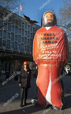 Stock Photo of Pictured Outside The American Embassy In Grosvenor Square Central London Actors And Members Of The Company Of The Tricycle Theatre's Original Production Of 'guantanamo' Gather To Highlight The Plight Of Guantanamo Detainee Shakar Aamer A Cause Taken Up By The Daily Mail. Pictured Here Is 'guantanamo' Cowriter Gillian Slovo.