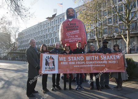 Editorial picture of Pictured Outside The American Embassy In Grosvenor Square Central London To Highlight The Plight Of Guantanamo Detainee Shakar Aamer Are (left To Right) Actor William Hoyland (starwars For Your Eyes Only Gandhi) Actress Jan Chappell (blakes Seven) Ac