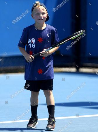 Cruz Hewitt, son of Lleyton Hewitt of Australia, plays tennis on a practice court during the Australian Open