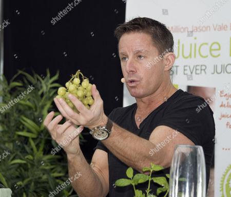 'Juice Master' Jason Vale giving a juicing demonstration