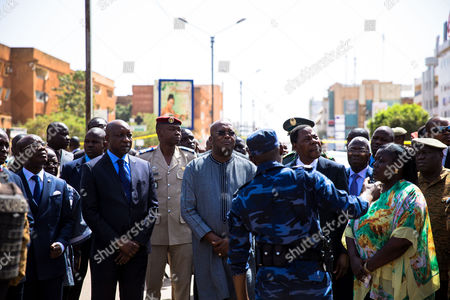 Stock Picture of Benin President Yayi Boni visits the scene together with Burkinabe President Roch Kabore