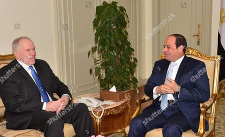 Egyptian President Abdel Fattah al-Sisi, meets with, director of the Central Intelligence Agency, John O. Brennan