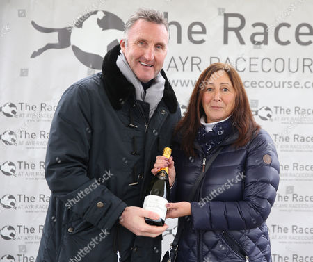 Sky Presenter Alan McInaly presents Mrs Cochrane after LAKE VIEW won at Ayr