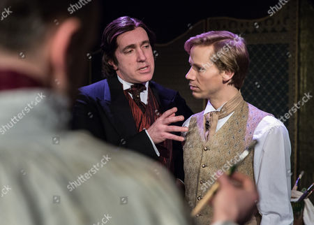 Stock Photo of Rupert Mason as Basil Horwood (back to camera), John Gorick as Lord Henry Wotton and Guy Warren-Thomas as Dorian Gray