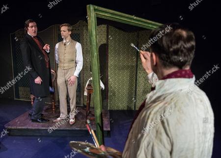 Stock Image of John Gorick as Lord Henry Wotton, Guy Warren-Thomas as Dorian Gray and Rupert Mason as Basil Horwood