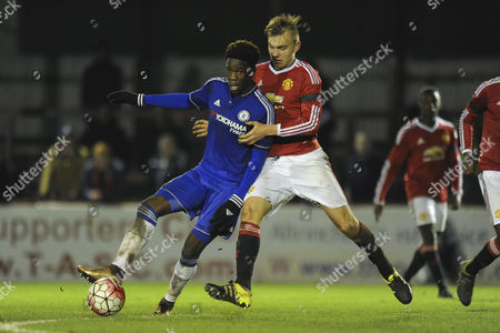 Issac Christie-Davies of Chelsea battles for the ball with Charlie Scott of Manchester United during Manchester United Youth vs Chelsea Youth at the J. Davidson Stadium