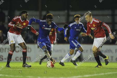 Issac Christie-Davies of Chelsea tries to break through the United defence during Manchester United Youth vs Chelsea Youth at the J. Davidson Stadium