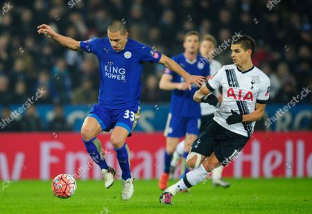 Gokhan Inler of Leicester City and Erik Lamela of Tottenham Hotspur during the Emirates FA Cup Third Round Replay match between Leicester City and Tottenham Hotspur played at the Kingpower Stadium, Leicester on the 20th of January 2016