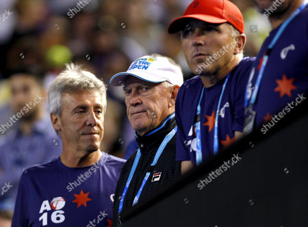 Tony Roche, coach of Lleyton Hewitt of Australia, watches him in action during his last ever match and imminent retirement from tennis at the Australian Open, Melbourne, 2016 Photo: Ella Ling