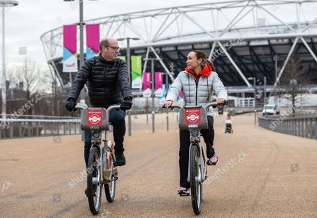 London's Cycling Commissioner Andrew Gilligan and Jessica Ennis