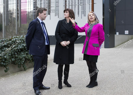 Education Secretary Nicky Morgan, MP for Winchester Steve Brine and Professor Joy Carter, the Vice Chancellor of Winchester University