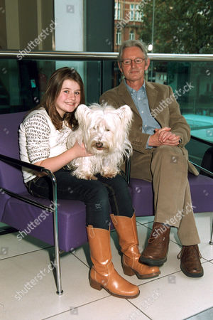 Emma Bolger, Gerry Cott (animal trainer) and Bobby the dog