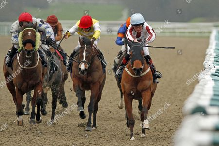 BOXING SHADOWS (right, Harry Burns) beats BLUE AMAZON (centre) and SECRET MILLIONAIRE (left) in The Unibet Offer Daily Trainer & Jockey Specials Handicap Lingfield