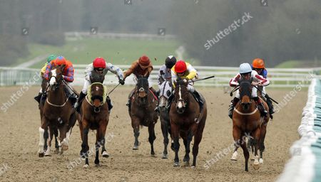 BOXING SHADOWS (right, Harry Burns) beats BLUE AMAZON (2nd right) and SECRET MILLIONAIRE (2nd left) in The Unibet Offer Daily Trainer & Jockey Specials Handicap Lingfield