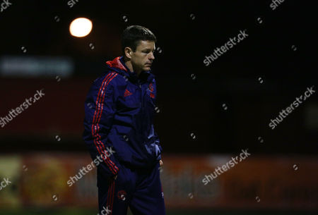 Manchester United U18 manager Paul McGuinness during the FA Youth Cup match between Manchester United and Chelsea played at The J Davidson Stadium, Altrincham on January 22nd 2016