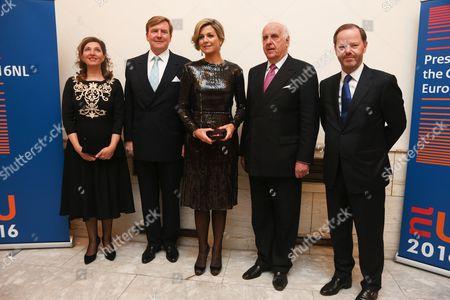 M.s.m van den Heuvel, King Willem-Alexander, Queen Maxima, Etienne Davignon and Pieter de Gooijer