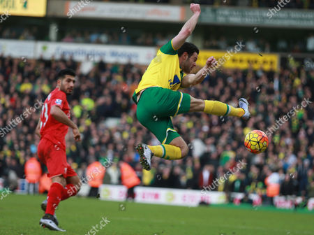 Action picture involving Matt Jarvis (Norwich City)   and Liverpool's Emre Can in  Norwich City v Liverpool, English Premier League 2015-16, Carrow Road, Norwich