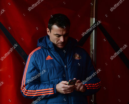 Steve Harper of Sunderland and who used to play for their arch rivals Newcastle United checks his phone before kick off during the Barclays Premier League match between Sunderland and Bournemouth played at Stadium of Light, Sunderland, on the 23rd January 2016