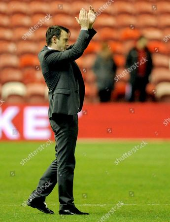 Manager Dougie Freedman of Nottingham Forest celebrates with his players and the fans at the end of the game during the Sky Bet Championship match between Middlesbrough and Nottingham Forest, played at the Riverside Stadium, Middlesbrough, on the 23rd of January 2016
