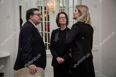 From left, Jose Manuel Barroso, Julia Gillard and Helle Thorning-Schmidt attend the United Nations Commission on Financing Global Education Opportunity meeting.