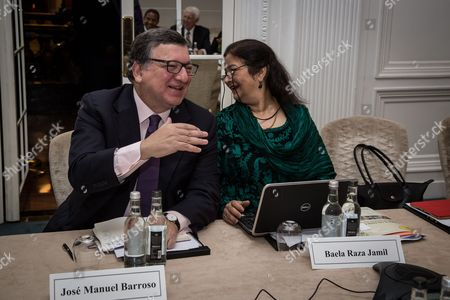 Jose Manuel Barroso and Baela Raza Jamil attend the United Nations Commission on Financing Global Education Opportunity meeting.