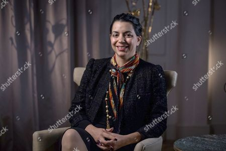 Stock Photo of Amel Karboul during an interview at the United Nations Commission on Financing Global Education Opportunity meeting.
