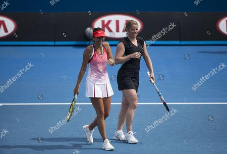 Kim Clijsters of Belgium with Iva Majoli of Croatia in action at the Australian Open