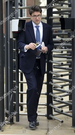 Lord Feldman Leaving Cabinet meeting via the security Back door of Downing St