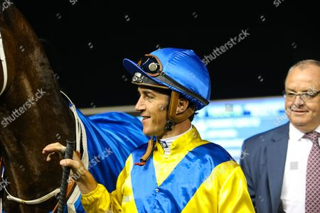 Stock Image of Dubai Meydan World Cup Carnival, Forries Waltz and Christophe Soumillon, trained by Mike de Kock. win race 4 the Al Rashidiya Gp 2