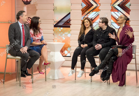 Piers Morgan and Susanna Reid with Lauren Murray, Che Chesterman and Seann Miley Moore