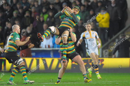 Northampton's Victor Matfield secures a high ball - Rugby Union - Aviva Premiership - Northampton Saints v Wasps - 29/01/16 - At Franklin's Gardens, Northampton UK. Photo Credit - Tom Dwyer/Seconds Left Images