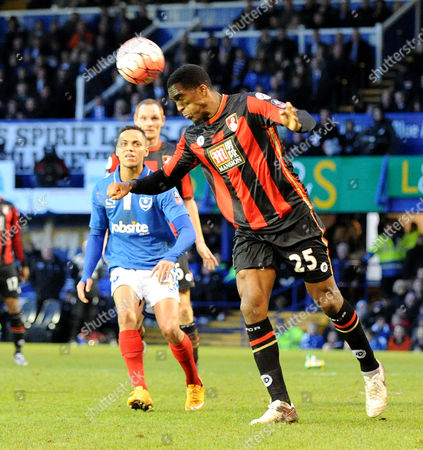 Bournemouths exPortsmouth player Sylvain Distin heads clear, during the FA Cup 4th Round between Portsmouth and Bournemouth, at Fratton Park on 30th January 2016.
