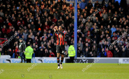 Bournemouths exPortsmouth player Sylvain Distin applauds the home crowd at the final whistle, during the FA Cup 4th Round between Portsmouth and Bournemouth, at Fratton Park on 30th January 2016.