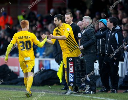 Rory Fallon of Bristol Rovers comes on for Rory Gaffney of Bristol Rovers