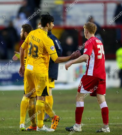 Rory Fallon of Bristol Rovers shakes hands with Brad Halliday of Accrington Stanley