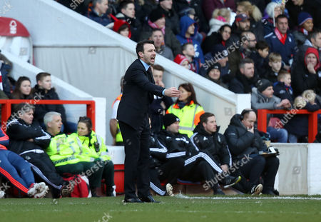 Nottingham Forest Manager, Dougie Freedman shouts instructions during the Emirates FA Cup 4th round match between Nottingham Forest and Watford played at City Ground, Nottingham on January 30th 2015