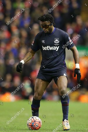 Alex Song during the Emirates FA Cup 4th round match between Liverpool and West Ham played at Anfield, Liverpool on January 23rd 2015
