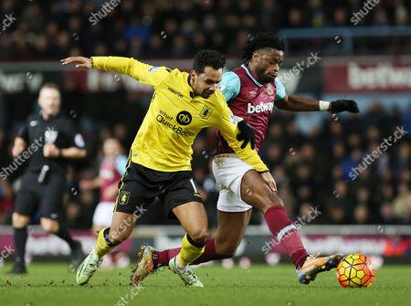 Kieran Richardson of Aston Villa with Alex Song of West Ham