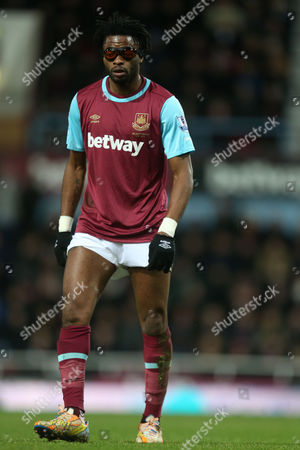 Stock Image of Alexandre Song of West Ham United during West Ham United vs Aston Villa, Barclays Premier League Football at the Boleyn Ground, London