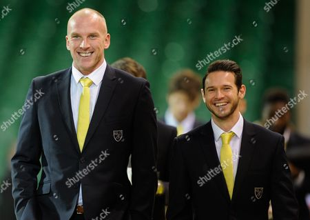 Norwich City Goalkeeper John Ruddy and Matt Jarvis during the Barclays Premier League match between Norwich City and Tottenham Hotspur played at Carrow Road, Norwich on February 2nd, 2016