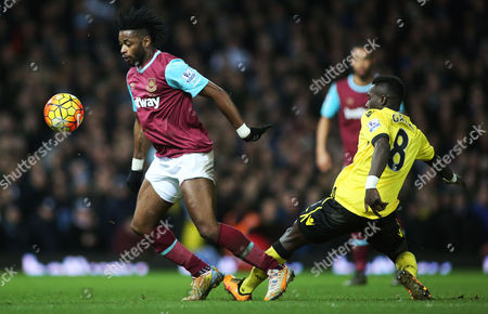 Alex Song of West Ham and Idrissa Gueye of Aston Villa during the Barclays Premier League match between West Ham United and Aston Villa played at Upton Park, London on February 2nd 2016